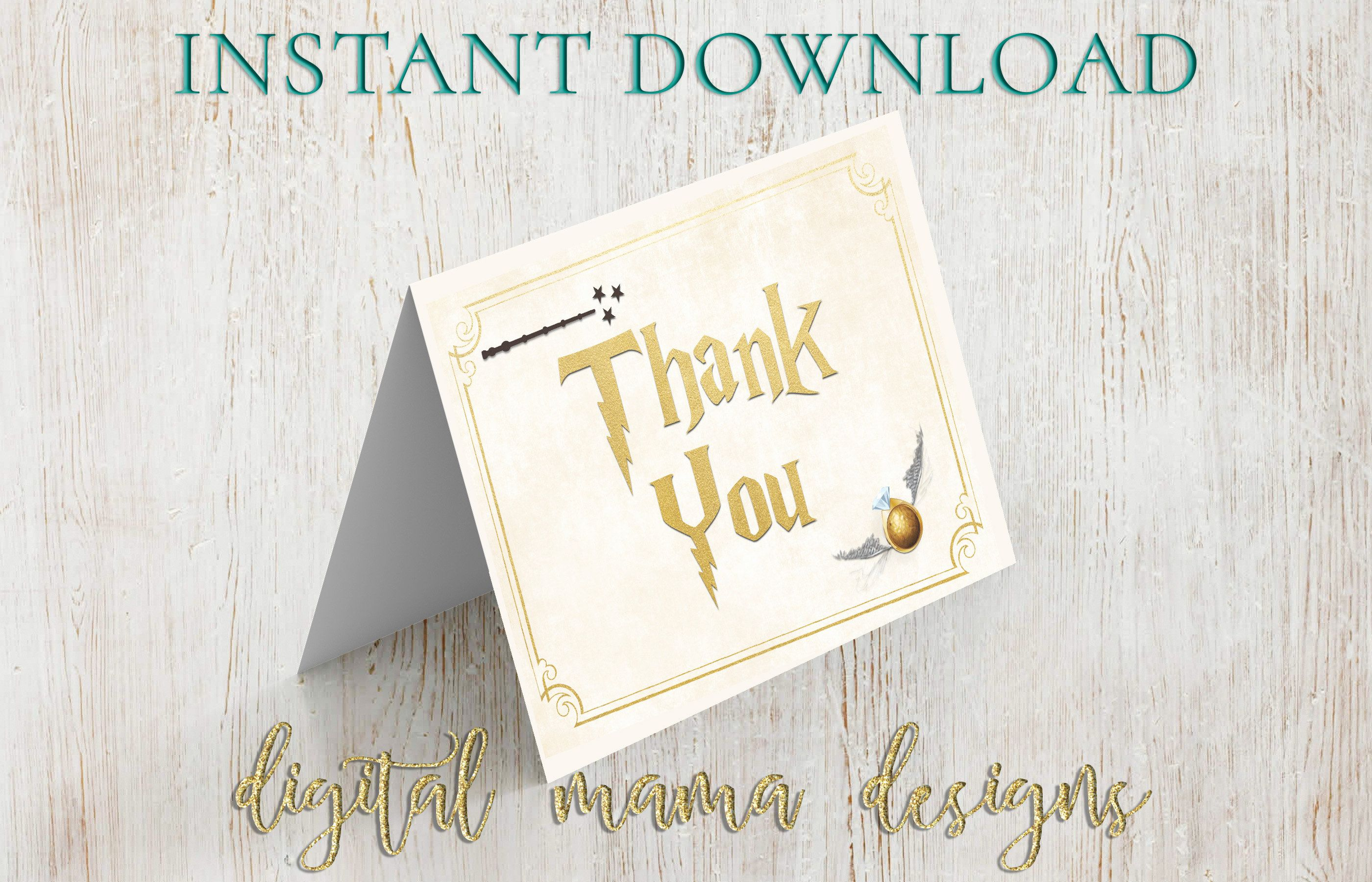 Instant download harry potter bridal shower thank you