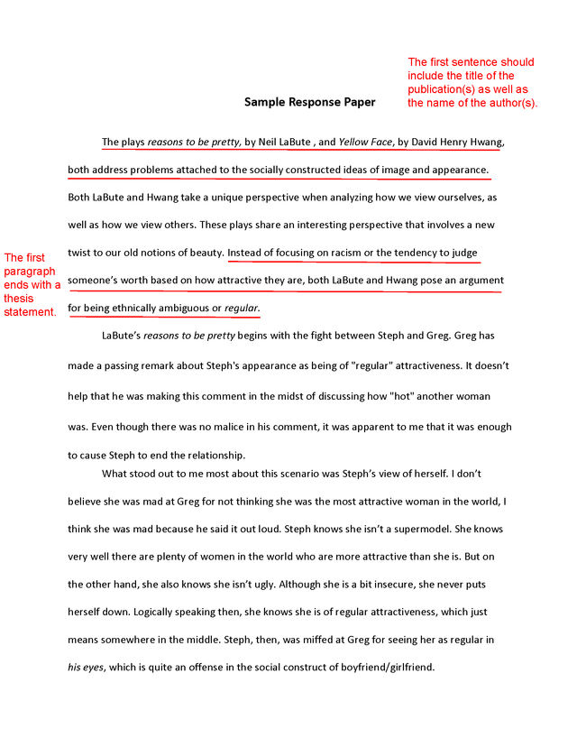 How To Write An Essay High School  Examples Of Essays For High School also English Essay Writing Help Write An Effective Response Paper With These Tips  Future  English Class Reflection Essay