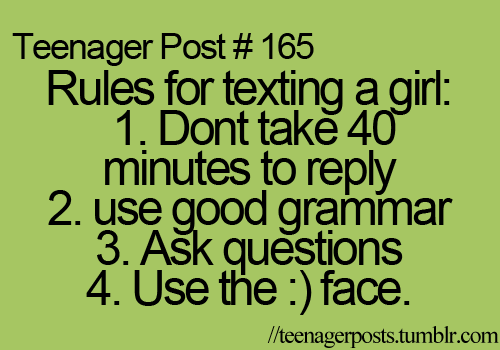 rules to texting a guy