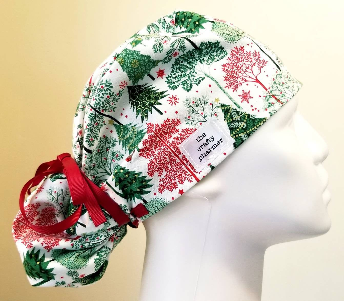 Sparkle Gingerbread Christmas Women/'s Ponytail Surgical Scrub Hat//Cap Handmade