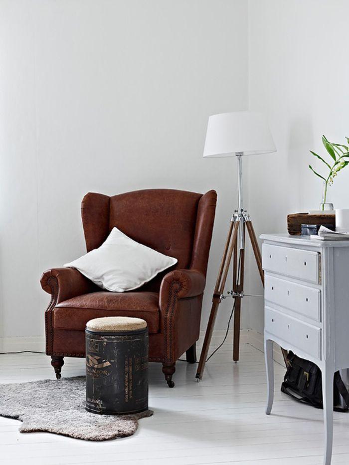 Vintage Möbel, Wohnzimmer, Einrichtungsideen, braunes Ledersofa - retro mobel wohnzimmer