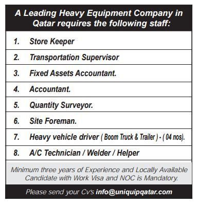 A Leading Heavy Equipment Company in Qatar requires the following