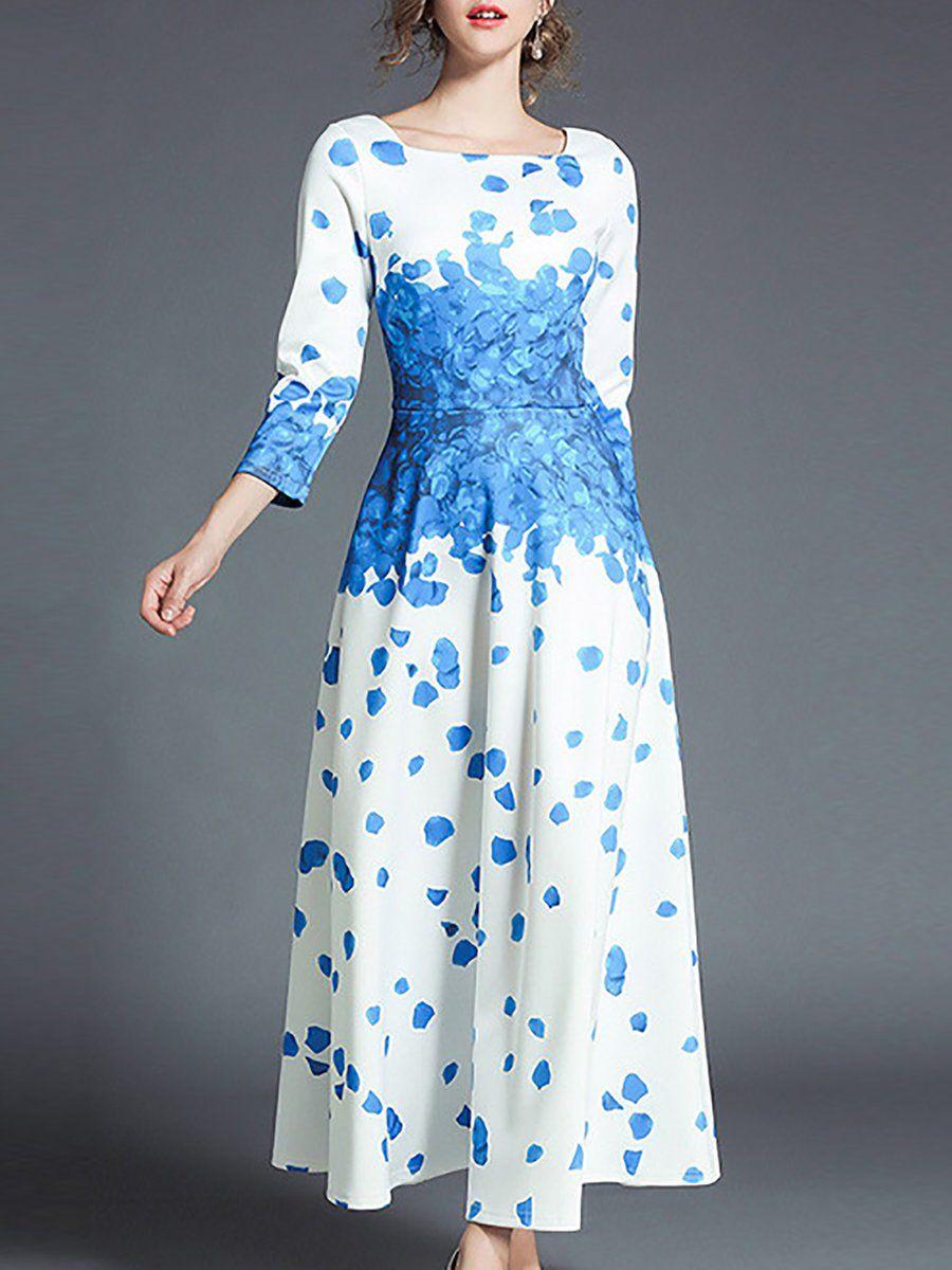 Elegant sleeve square neck printed aline maxi dress dress
