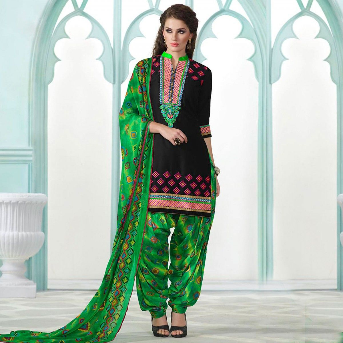 Buy Black - Green Patiala Suit for womens online India, Best ...