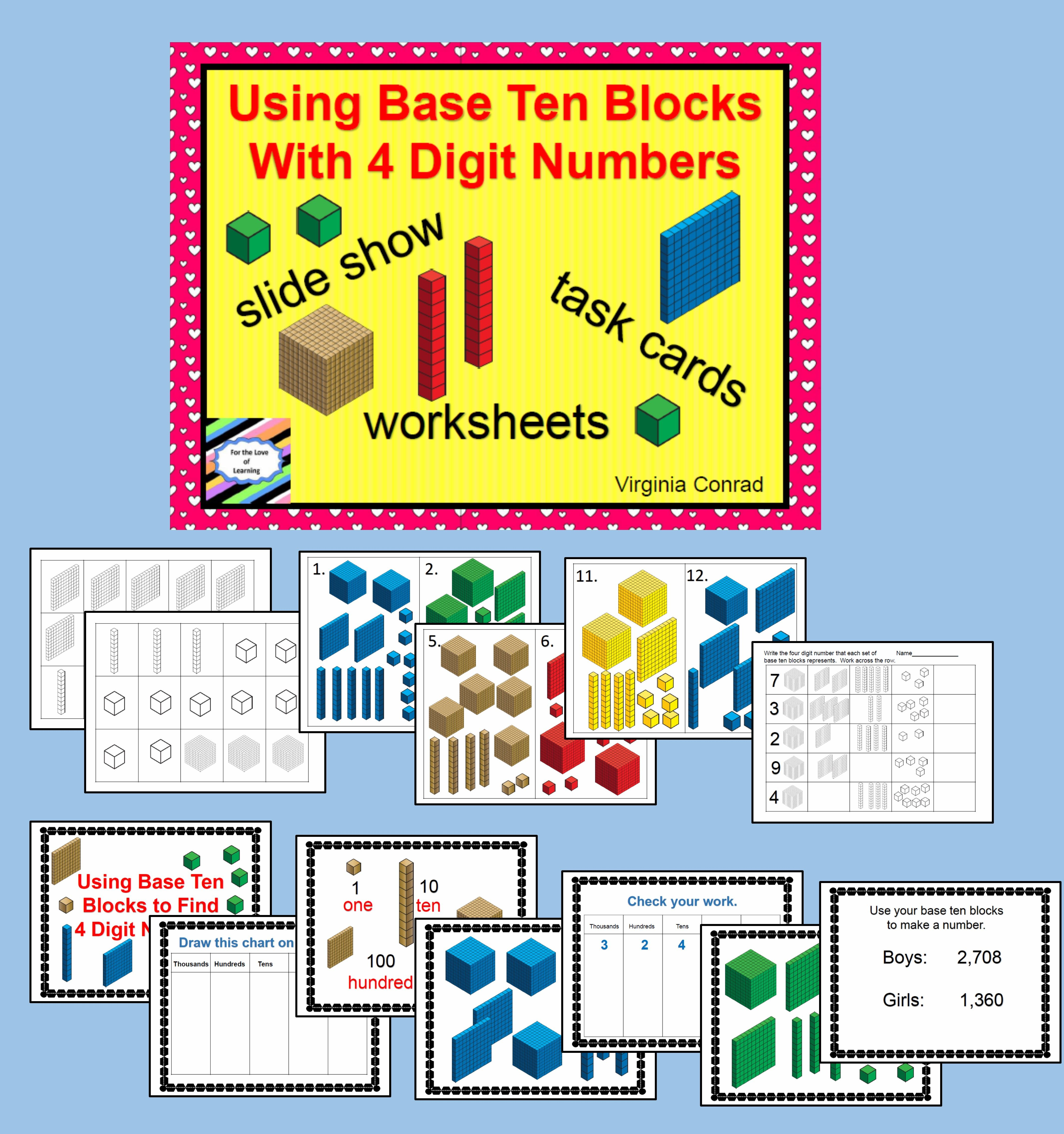 Supplemental Materials For Practicing Using Base 10 Blocks With 4 Digit Numbers Base Ten Blocks Task Card Centers Math Materials Adding digit numbers with base 10