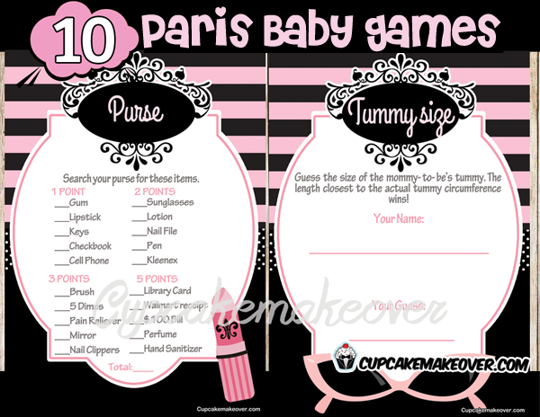 Paris Diva Baby Shower Game Package Instant Download Baby Shower