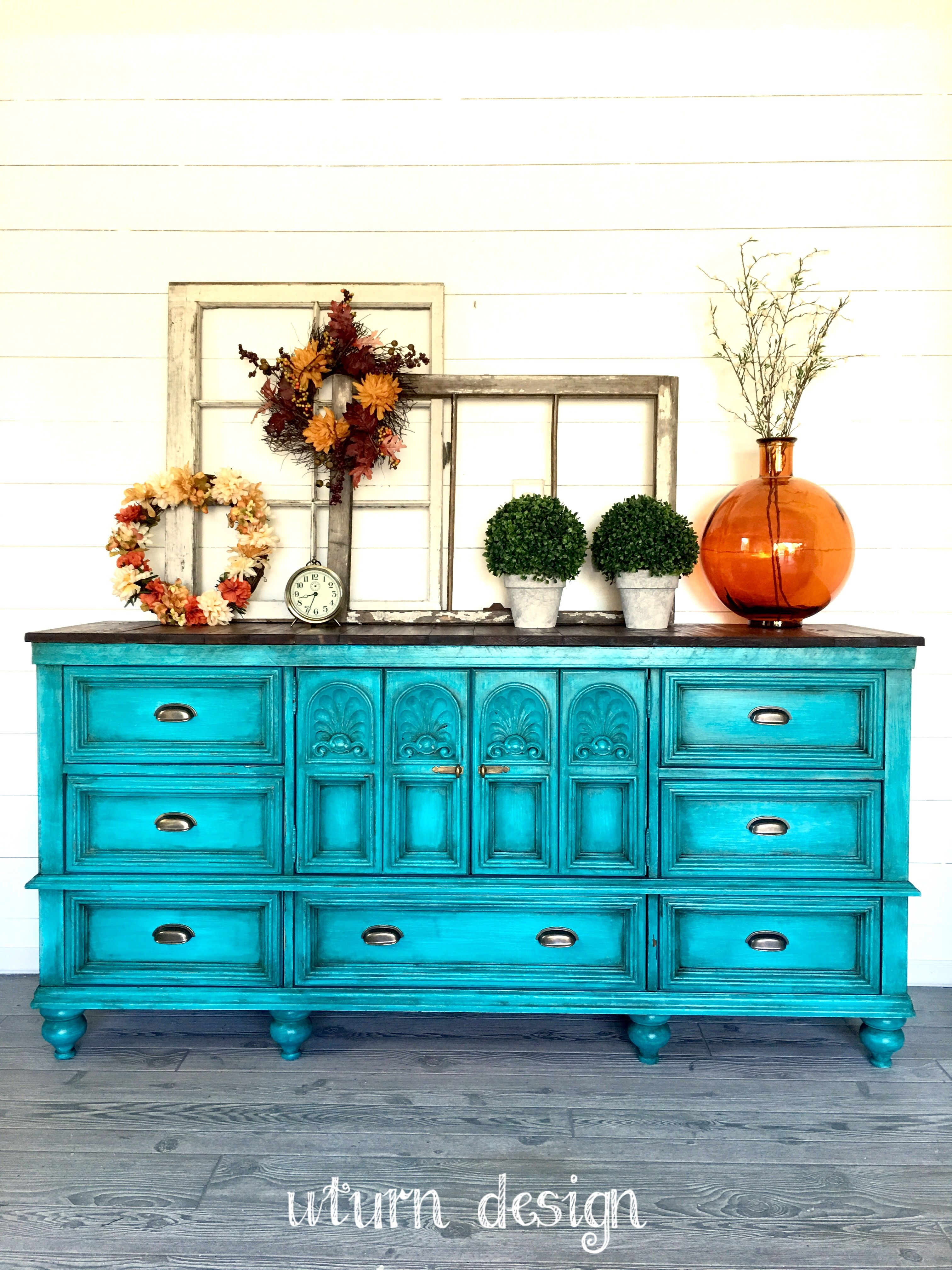 Turquoise Buffet By Uturn Design Log Home Interiors Furniture Inspiration Painted Furniture