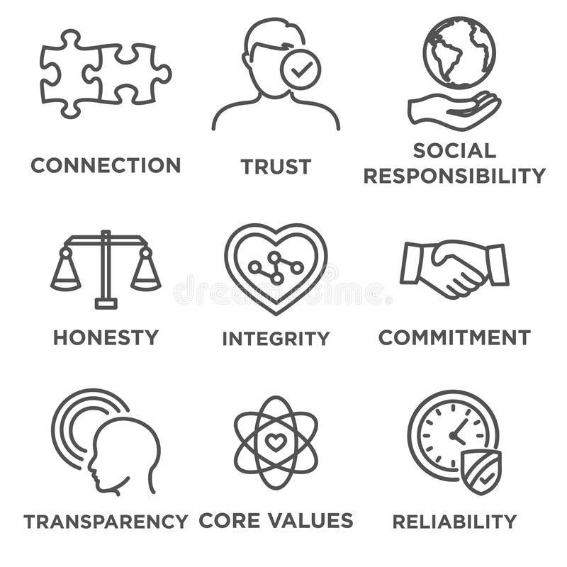 Business Ethics Icon Set Outline Business Ethics Icon Set With Social Responsib Affiliate Set Outline So Business Symbols Business Ethics Core Values