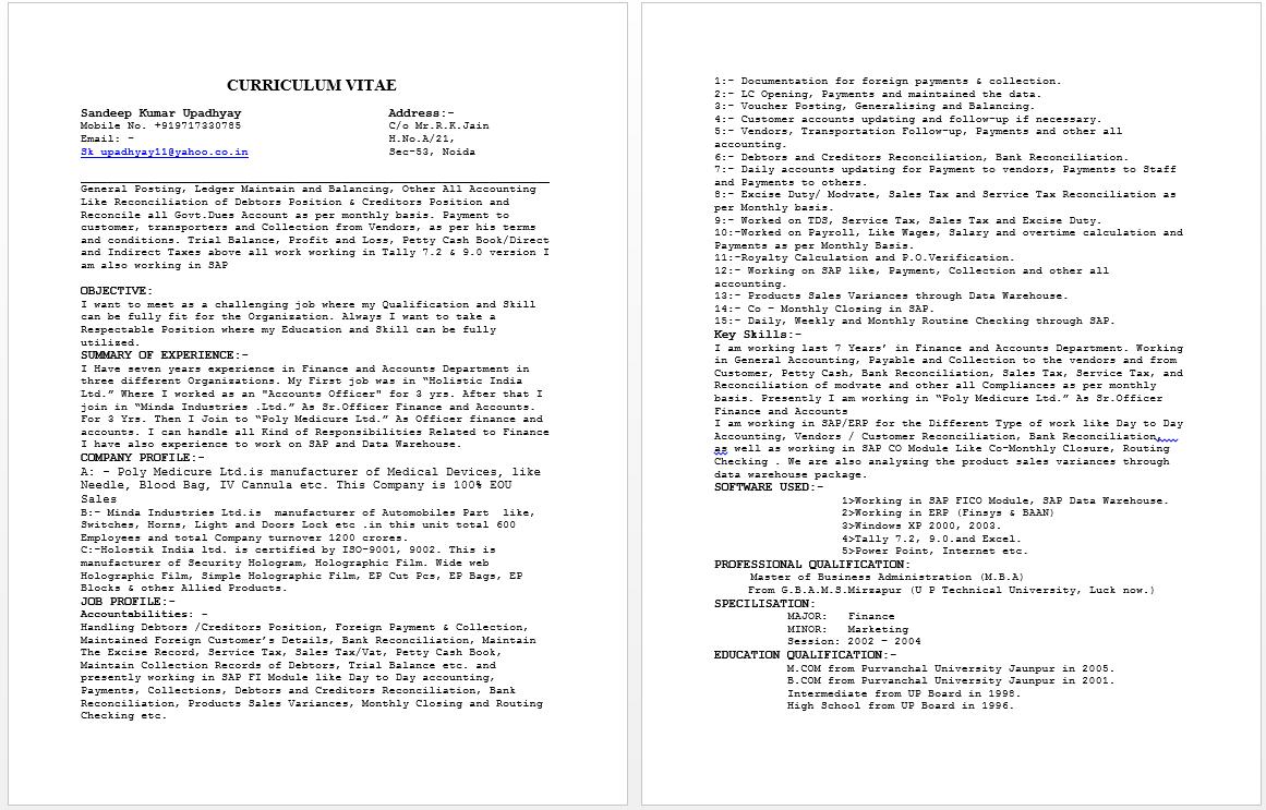 Senior Accounts Officer Resume Resume Accounting Sample Resume