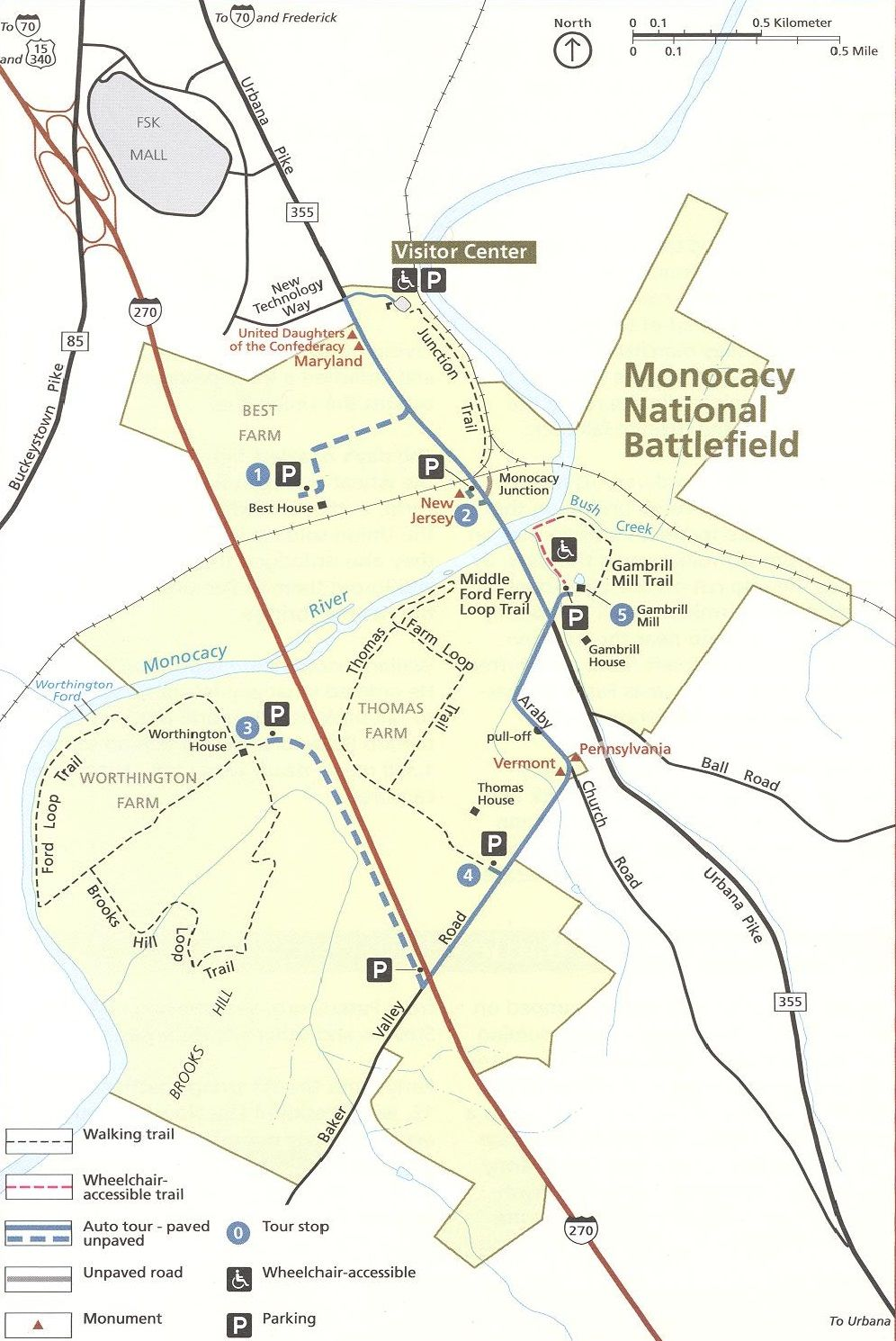 Map of Monocacy National Battlefield Battlefield