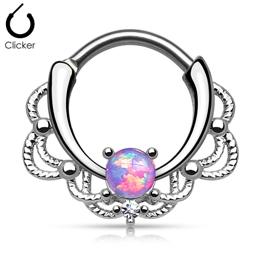 Piercing clip art  Lacey Single Opal Septum Clicker  Gauges Fire opals and Stainless