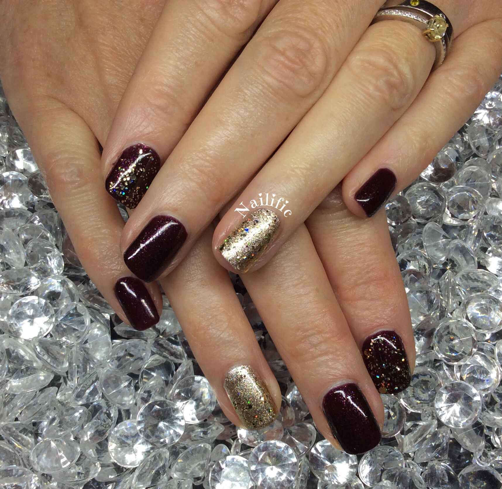 Gelish Give Me Gold , Seal The Deal & All That Glitters on Natural ...