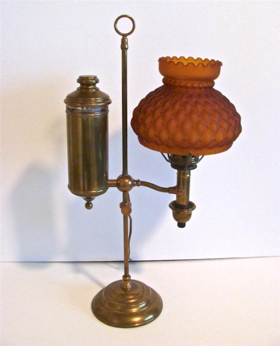 1877-1884 ORIGINAL Post & Co. Brass Student Oil Lamp & Amber Shade #antique #oil #lamp