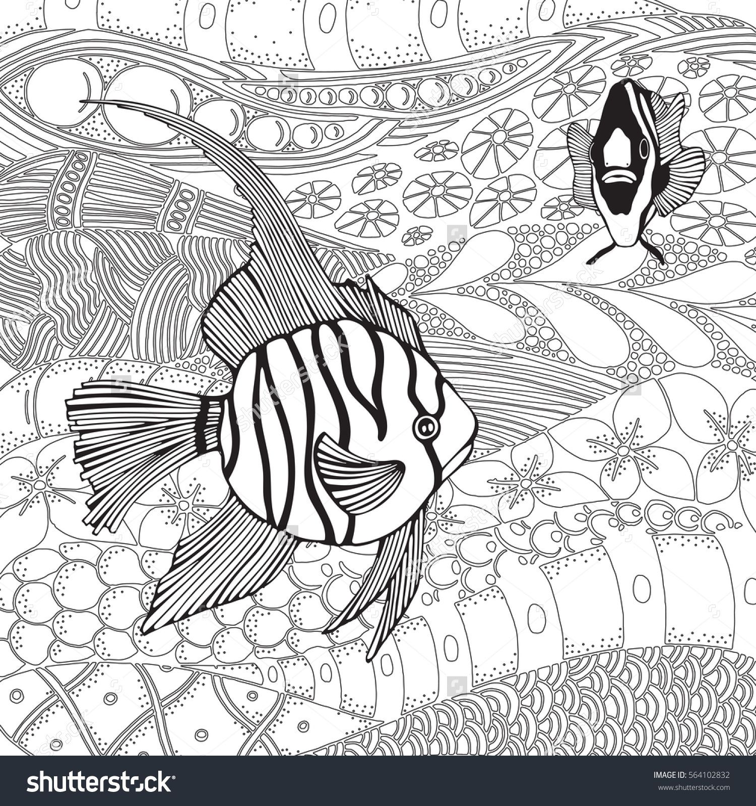 Black And White Tropical Fish Exotic Coloring Book Page For Adult Monochrome