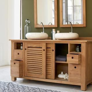 Teak Badmöbel waschtisch waschbeckenschrank badezimmer unterschrank massiv holz