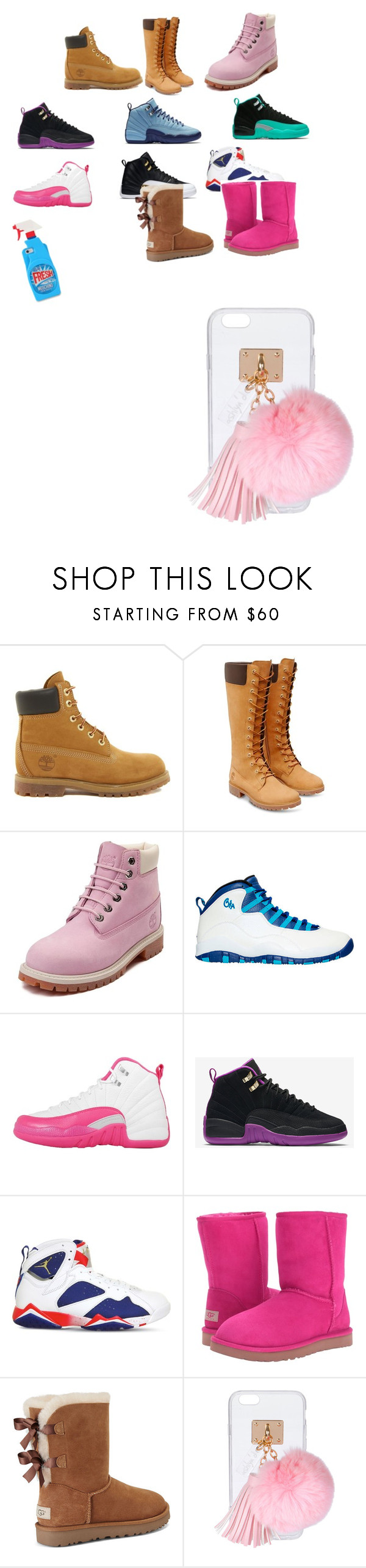 """""""Fye Shoes"""" by frenyahardy ❤ liked on Polyvore featuring Timberland, NIKE, UGG, Ashlyn'd and Moschino"""