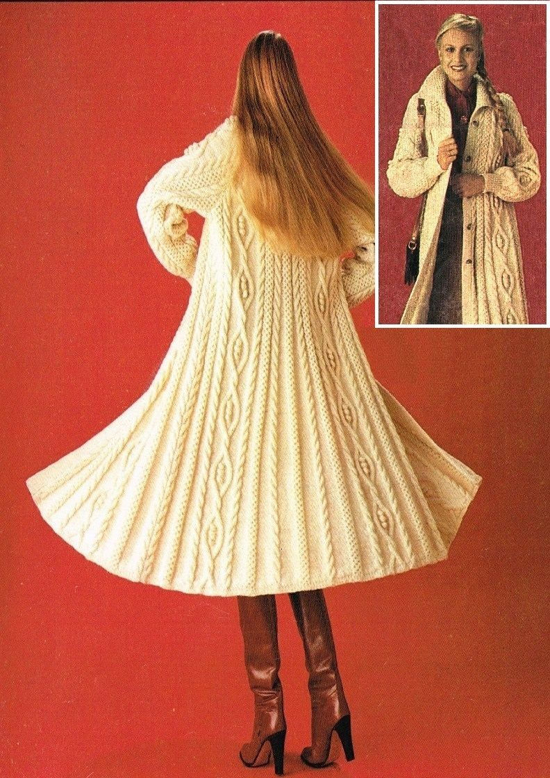 Vintage Knitting Pattern Lady\'s Long Aran/Cable Coat/Cardigan/Jacket