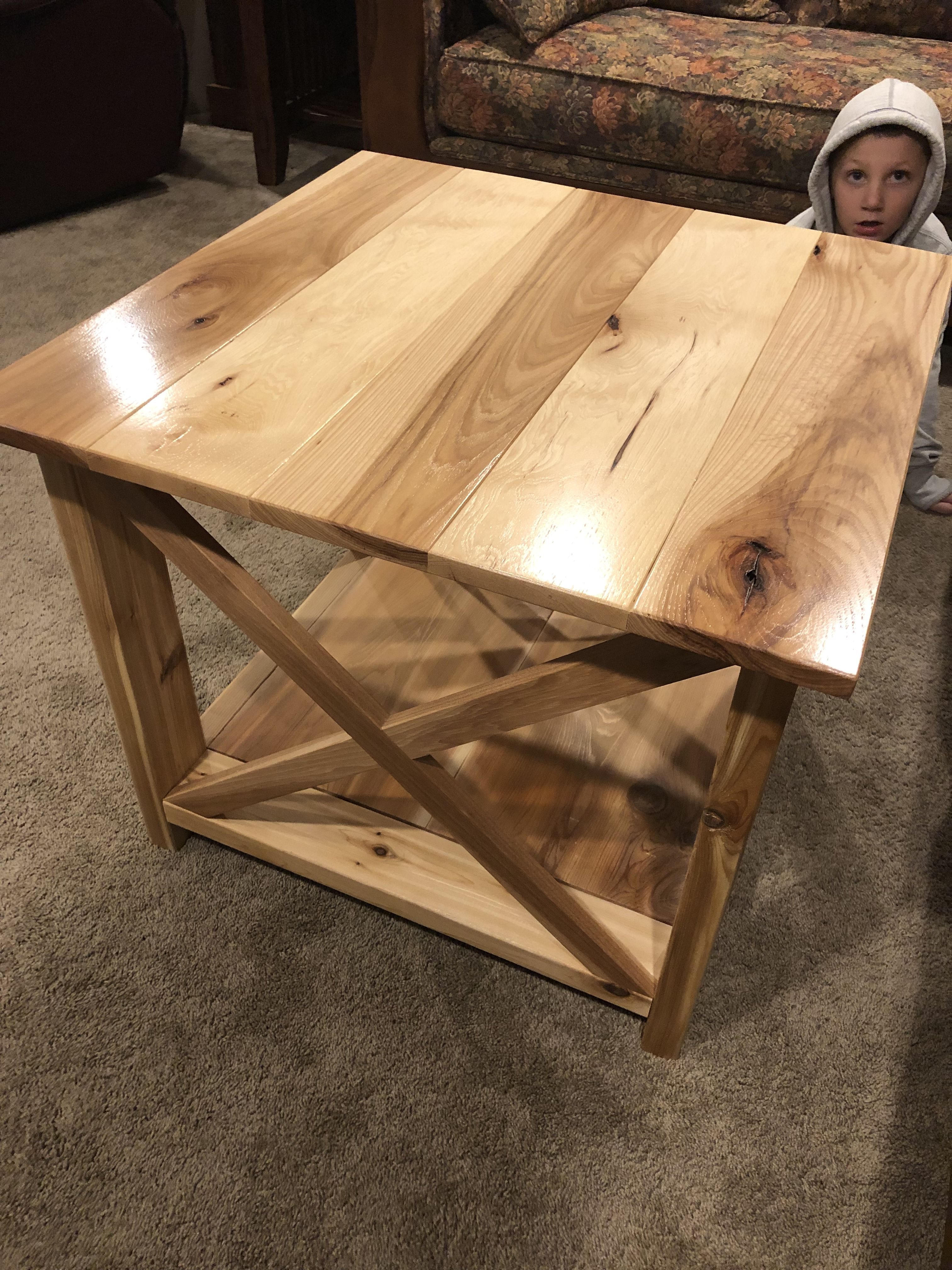 This Is My First End Table Made From Hickory And Cedar With