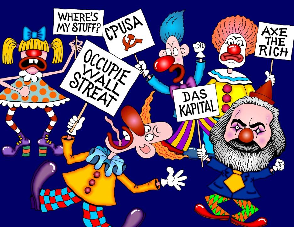 Occupy Wall Street Cartoon Clowns Occpuy Wall Street Leftest Anti Business Socialists Marxists Clowns Protest Color Editorial Cartoon Cartoon Illustration