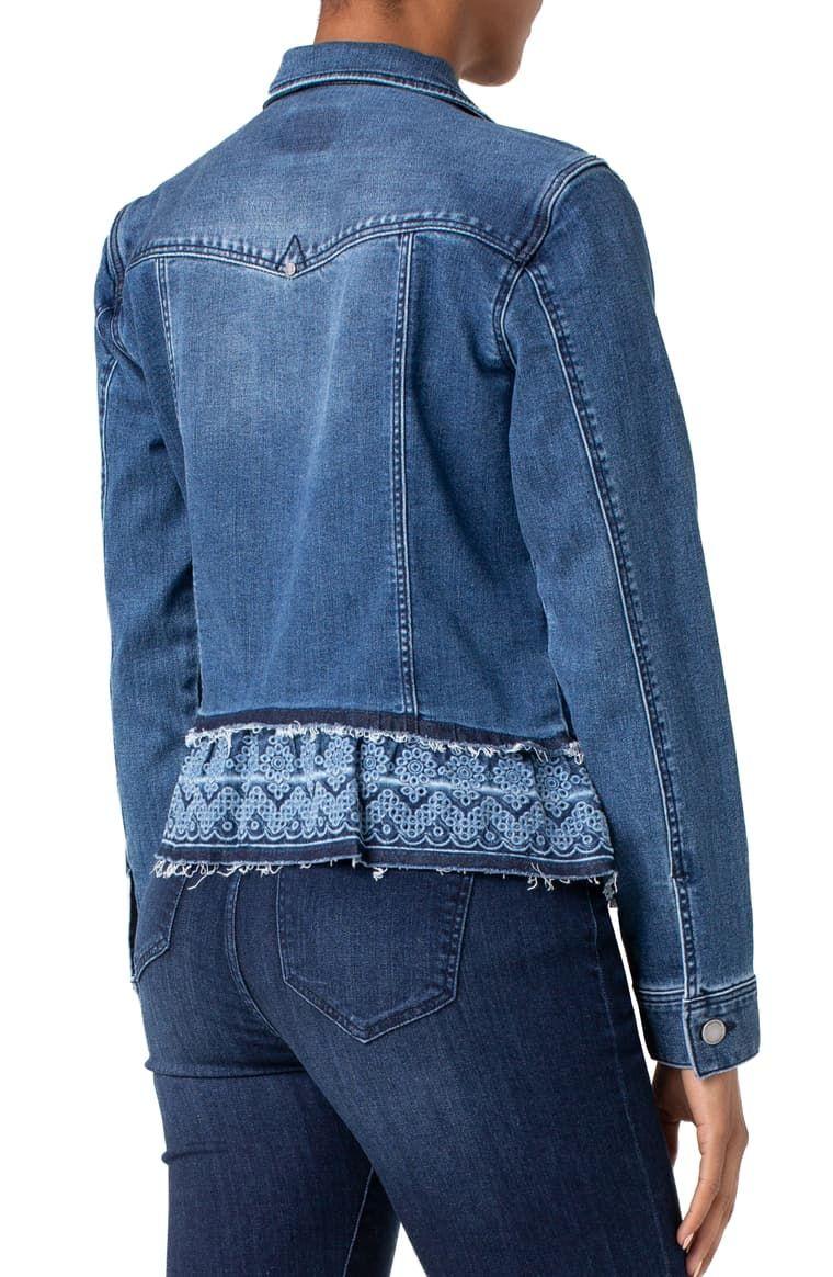 Liverpool Eyelet Hem Denim Jacket Nordstrom Denim Jacket Denim And Lace Upcycle Clothes [ 1164 x 760 Pixel ]