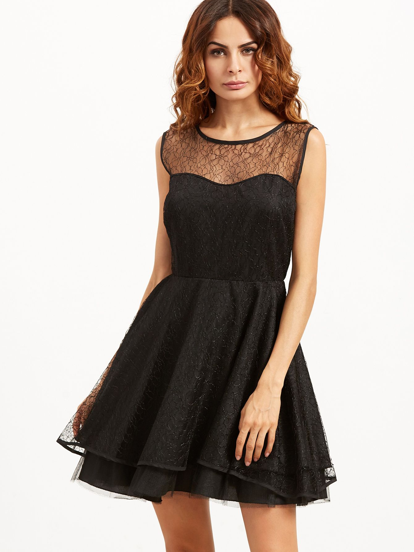 f891da4f5ca Shop Black Sleeveless Layered Lace Dress online. SheIn offers Black  Sleeveless Layered Lace Dress   more to fit your fashionable needs.