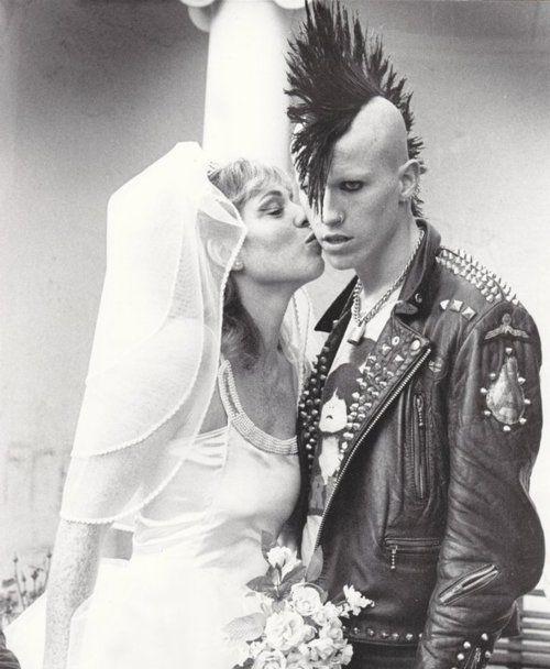 punk wedding, Mohawk, punk love, punk couple