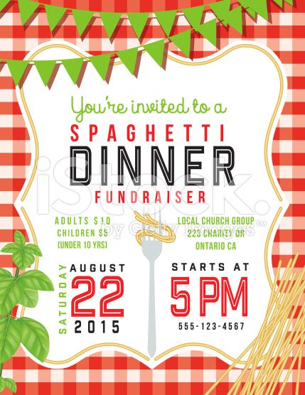 Spaghetti Dinner Vertical Invite Poster Template On Red And White