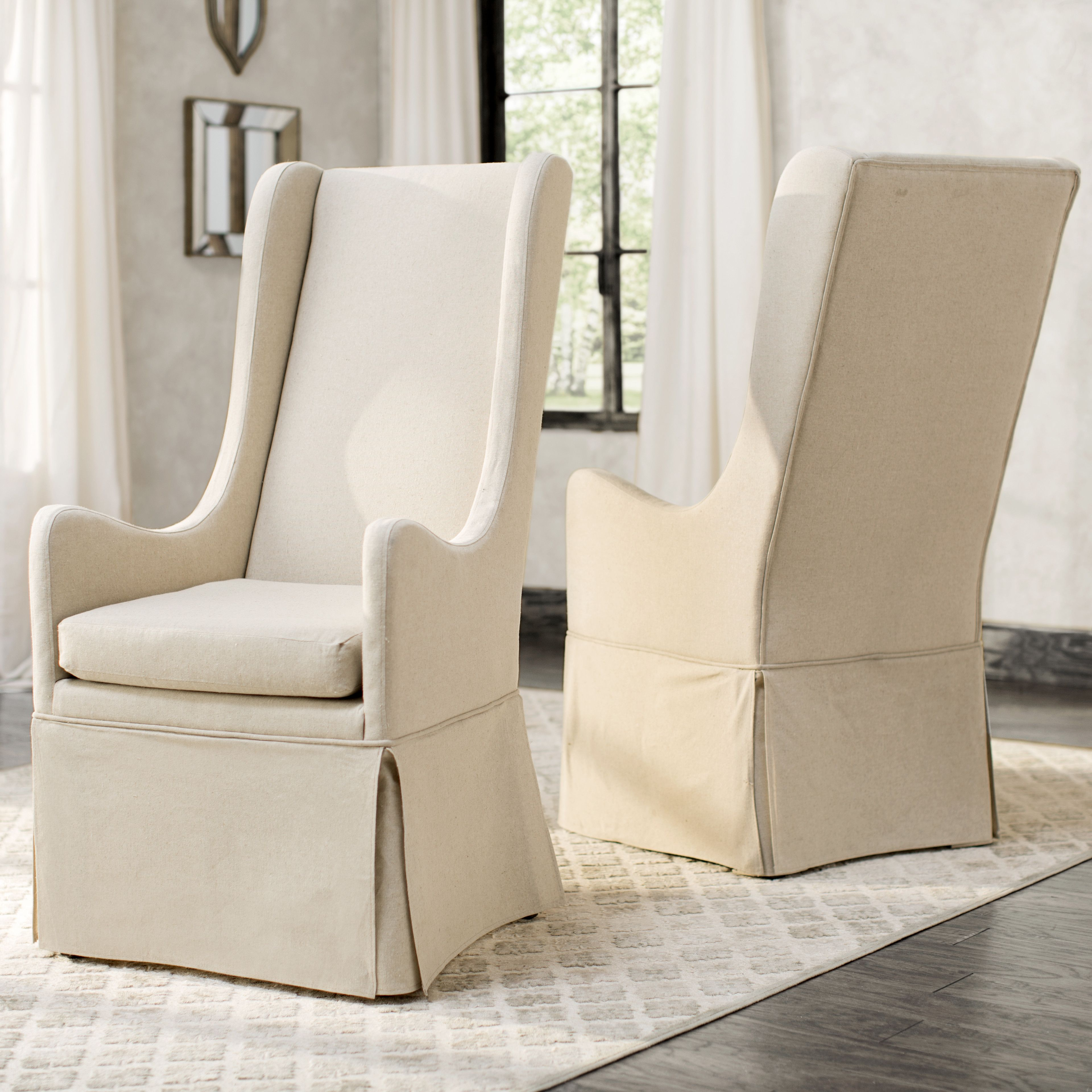 Lark Manor Albane Arm Chair High Back Dining Chairs Upholstered Dining Chairs Dining Chairs