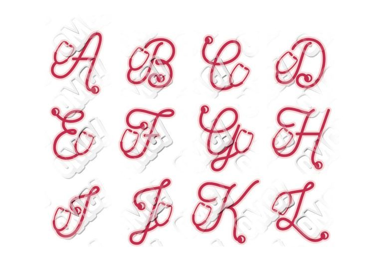 Nurse stethoscope alphabet font in svgdxfepsjpgpng