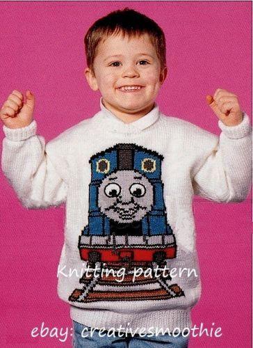 Child-Adult Thomas the Tank Engine Sweater Knitting Pattern 92 22-40/'/'
