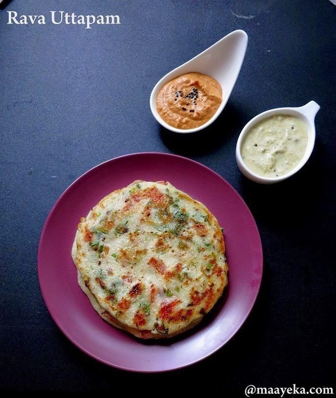 Quick Rava Uttapam Quick,light and easy vegetable and semolina pancakes
