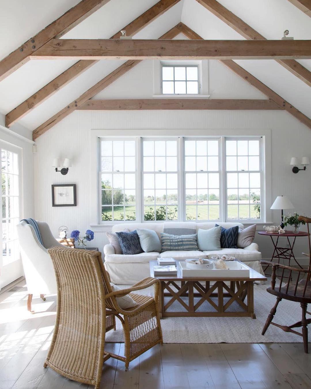 Wood Floor White Walls Vaulted Ceiling Exposed Wood Beams