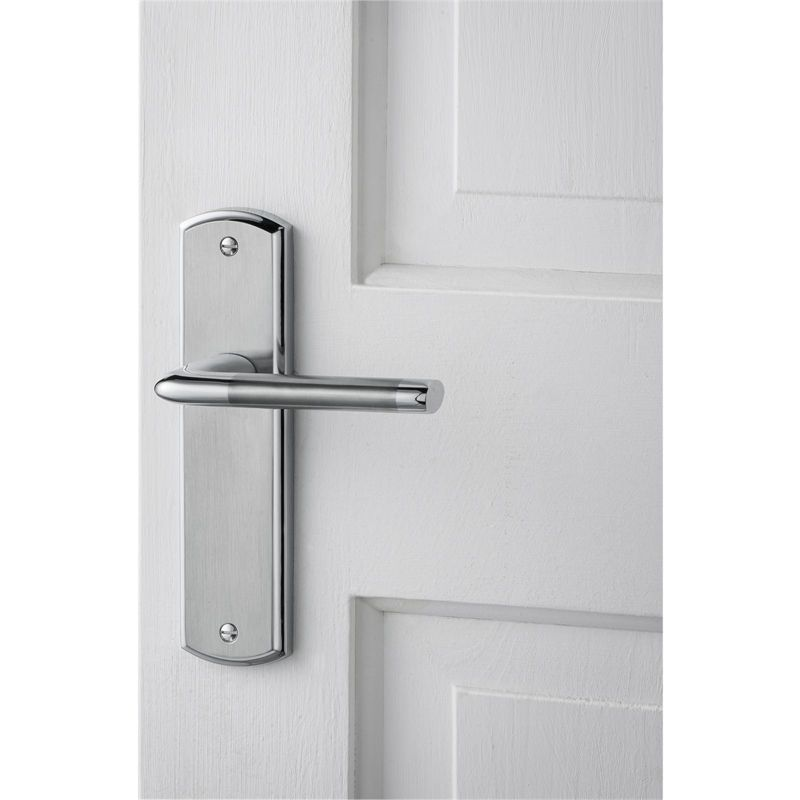 Find Alina Lever Latch Door Handle Satin And Polished Chrome At Homebase Visit Your Local Store For The Widest Range Of Bu Door Handles Homebase Lever Latch