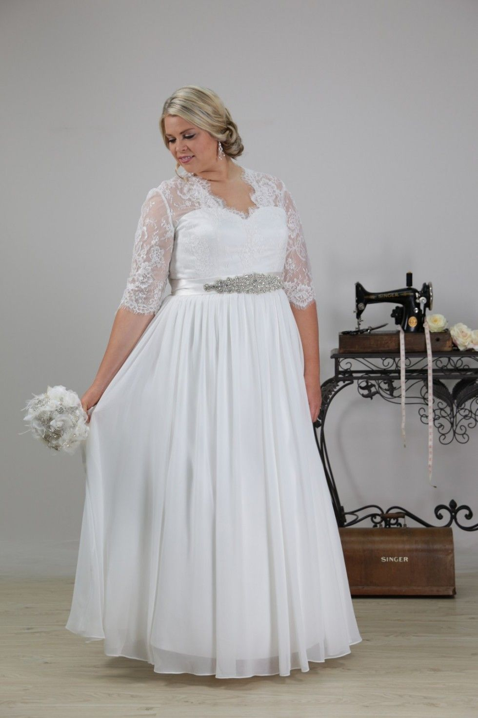 Sheathcolumn sweetheart half sleeve chiffon white plus size wedding