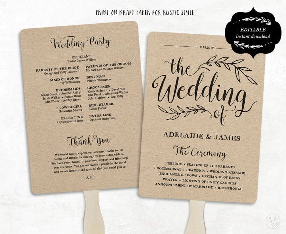 Printable wedding program template rustic wedding fan for Diy wedding program fan template