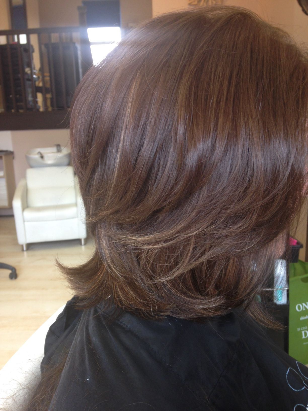 Tipped Soft Highlights In A Shoulder Length Cut With