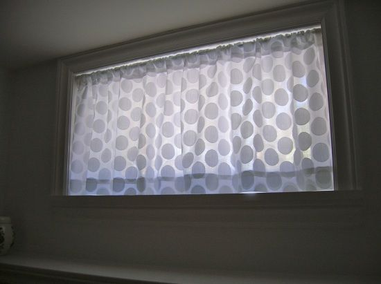 full curtain idea for bathroom. inside window frame with tension