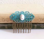 Turquoise Pearl Hair Comb Teal Wedding Bridal Hairpiece Something Blue Old Vintage    #bl #bridalhairpiece