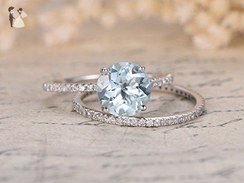 2pcs Aquamarine Wedding Ring Set,6.5mm Round Cut Light Blue Gemstone Solid 14k White Gold Engagement Ring Full Eternity Diamond Stackable Anniversary Bridal Stacking Matching Band Promise - Wedding and engagement rings (*Amazon Partner-Link)