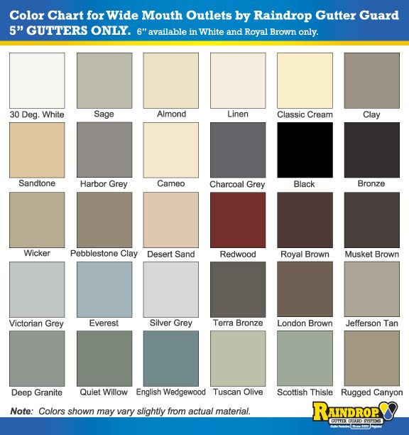 30 Colors Available For Wide Mouth Gutter Outlets
