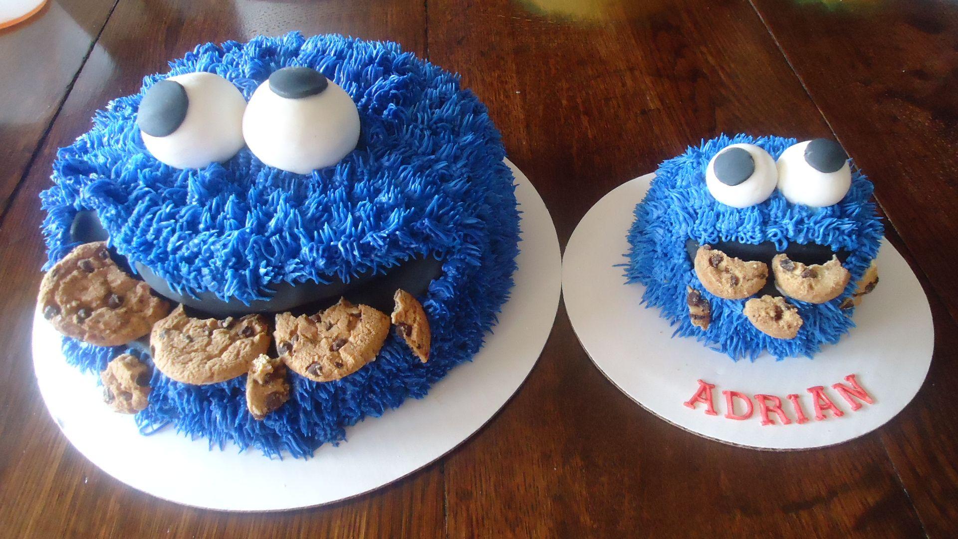 Cookie monster cakes cookies 1 year old birthday smash
