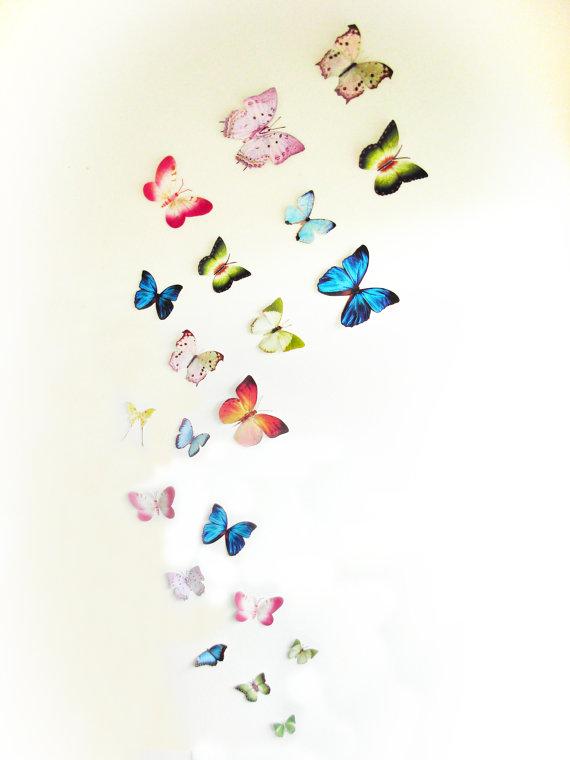 3d Wall Butterflies 3d Butterfly Wall Art Decoration Pink Green