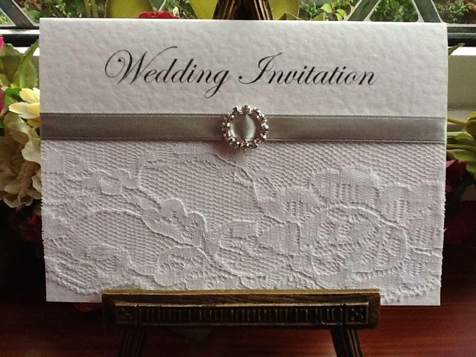 B0005a Chantilly Lace Silver Diamante Buckle Wedding Invitation – Wedding Invites Lace