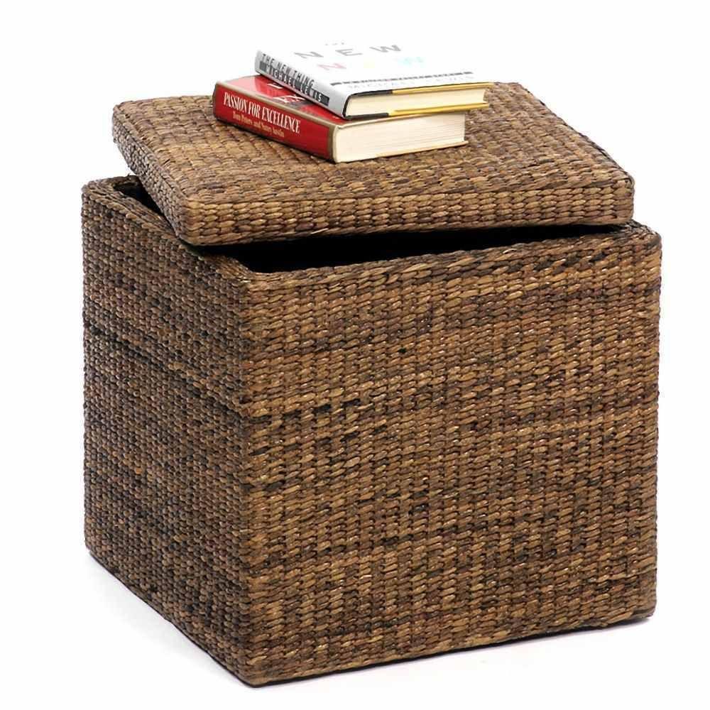 Wicker Wood Frame Decorative Storage Cube Box Coffee Table Stool Ottoman  Lid Picclick.com