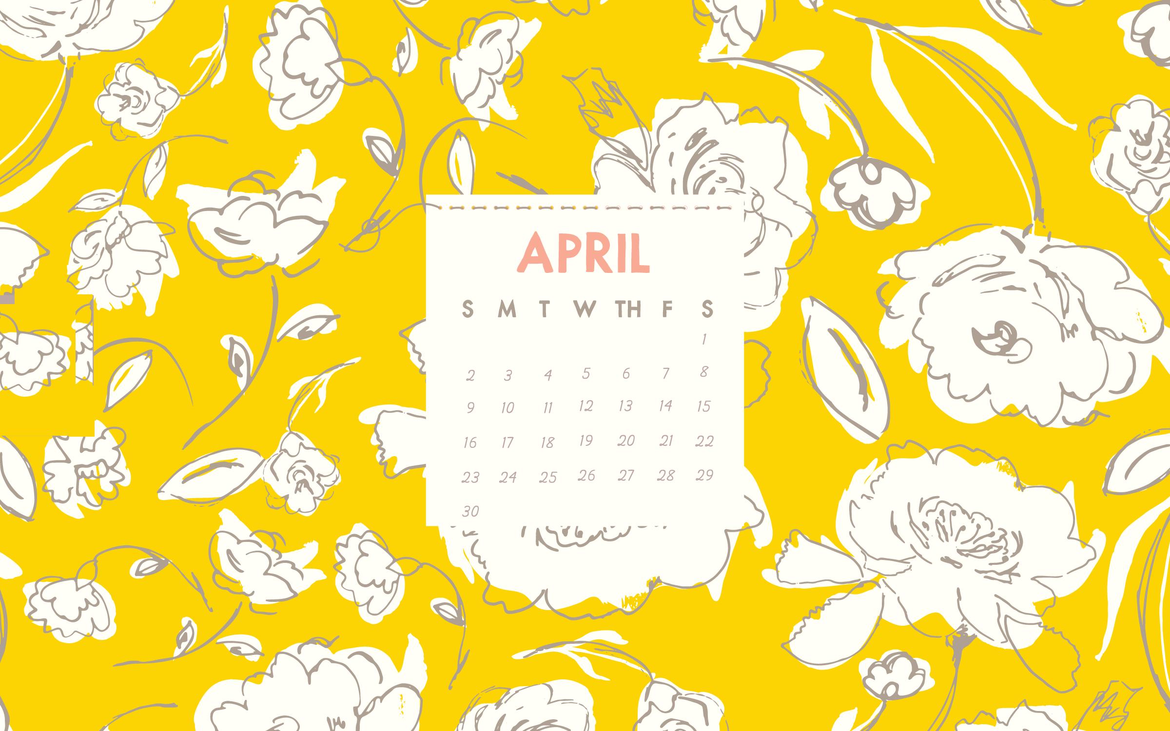 april 2018 desktop background calendar