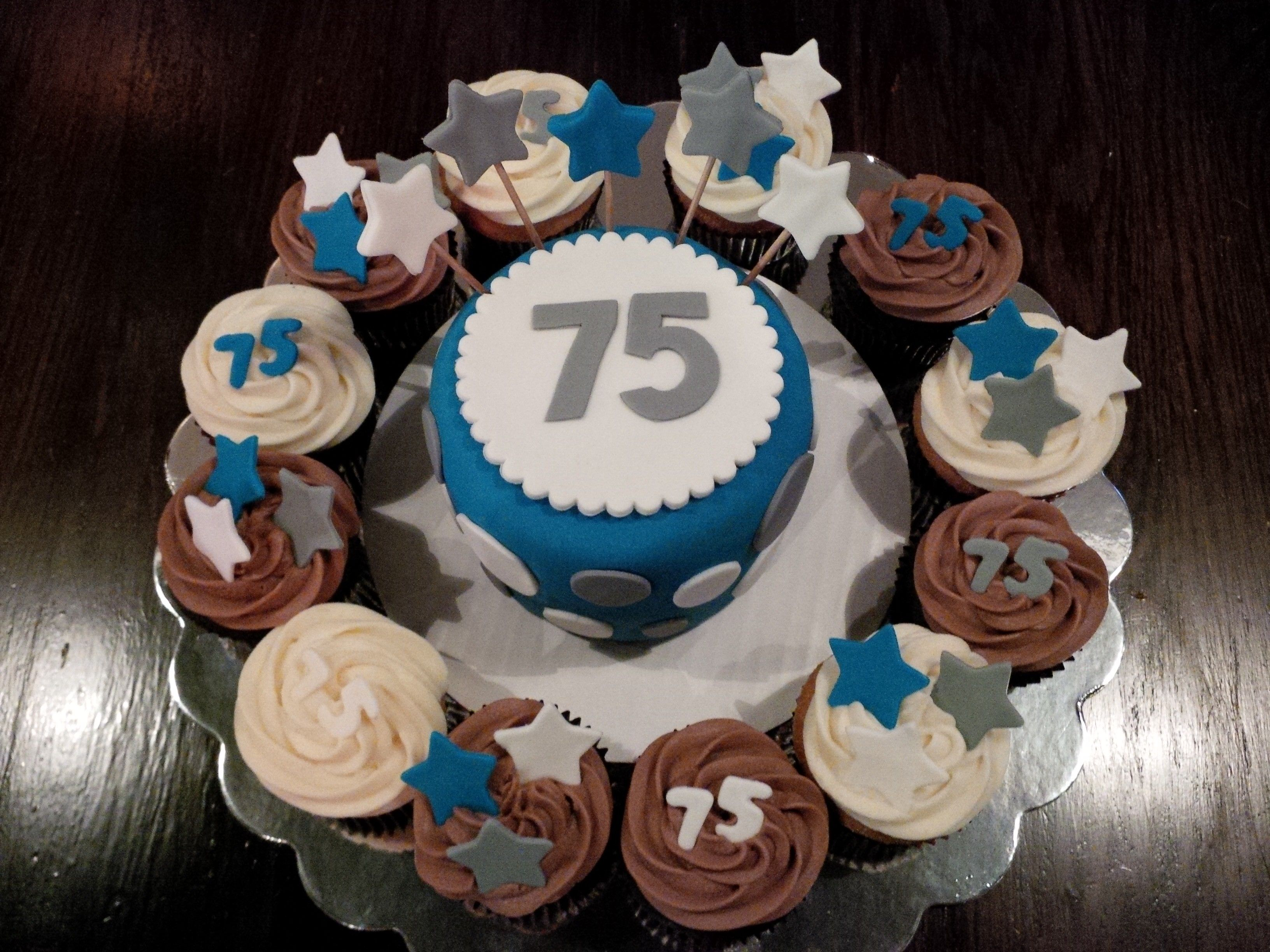 75th Birthday Cake And Cupcakes 75th Birthday Pinterest 75th