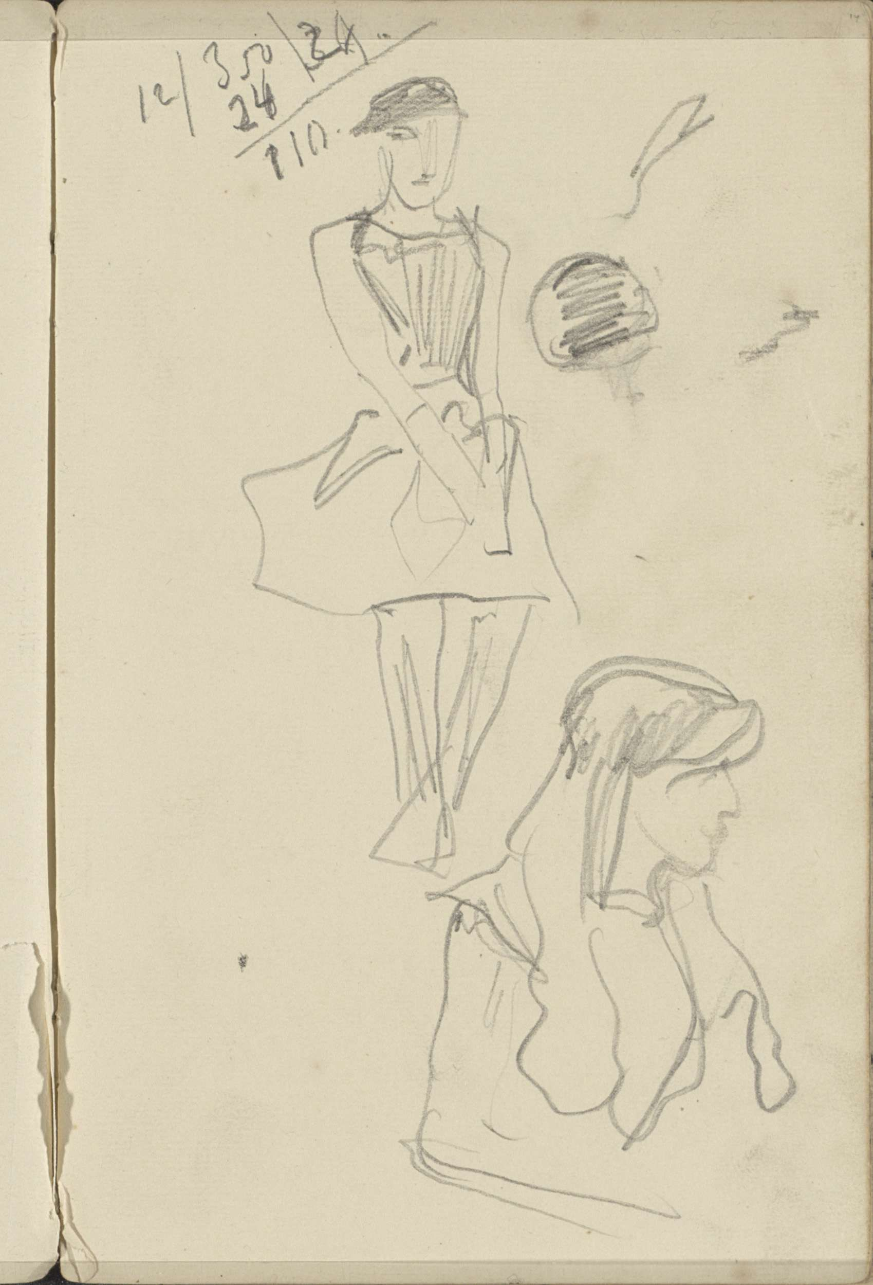 George Hendrik Breitner | Meisjes, mogelijk ballerina's, George Hendrik Breitner, 1884 - 1886 | Pagina 14 uit een schetsboek met 19 bladen.