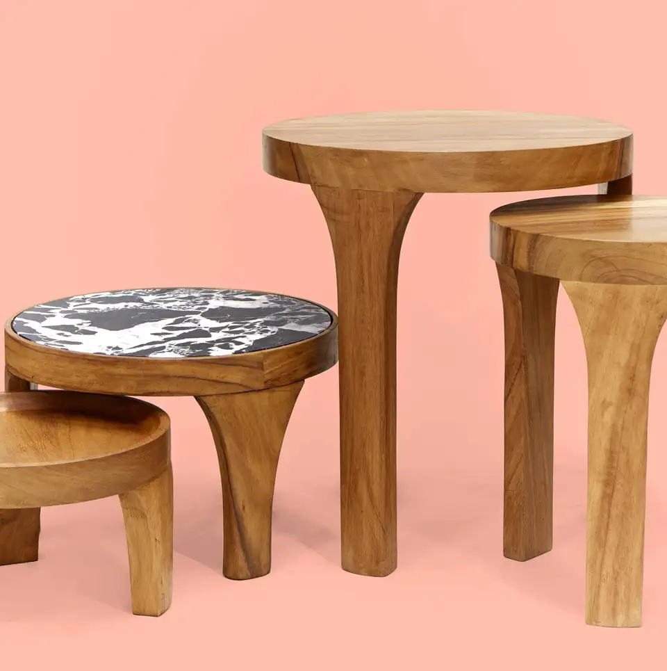 Set Of Two Handcrafted Marcelino Center Tables Tropical Parota Wood And Marble In 2021 Center Table Wood And Marble Table [ 965 x 960 Pixel ]