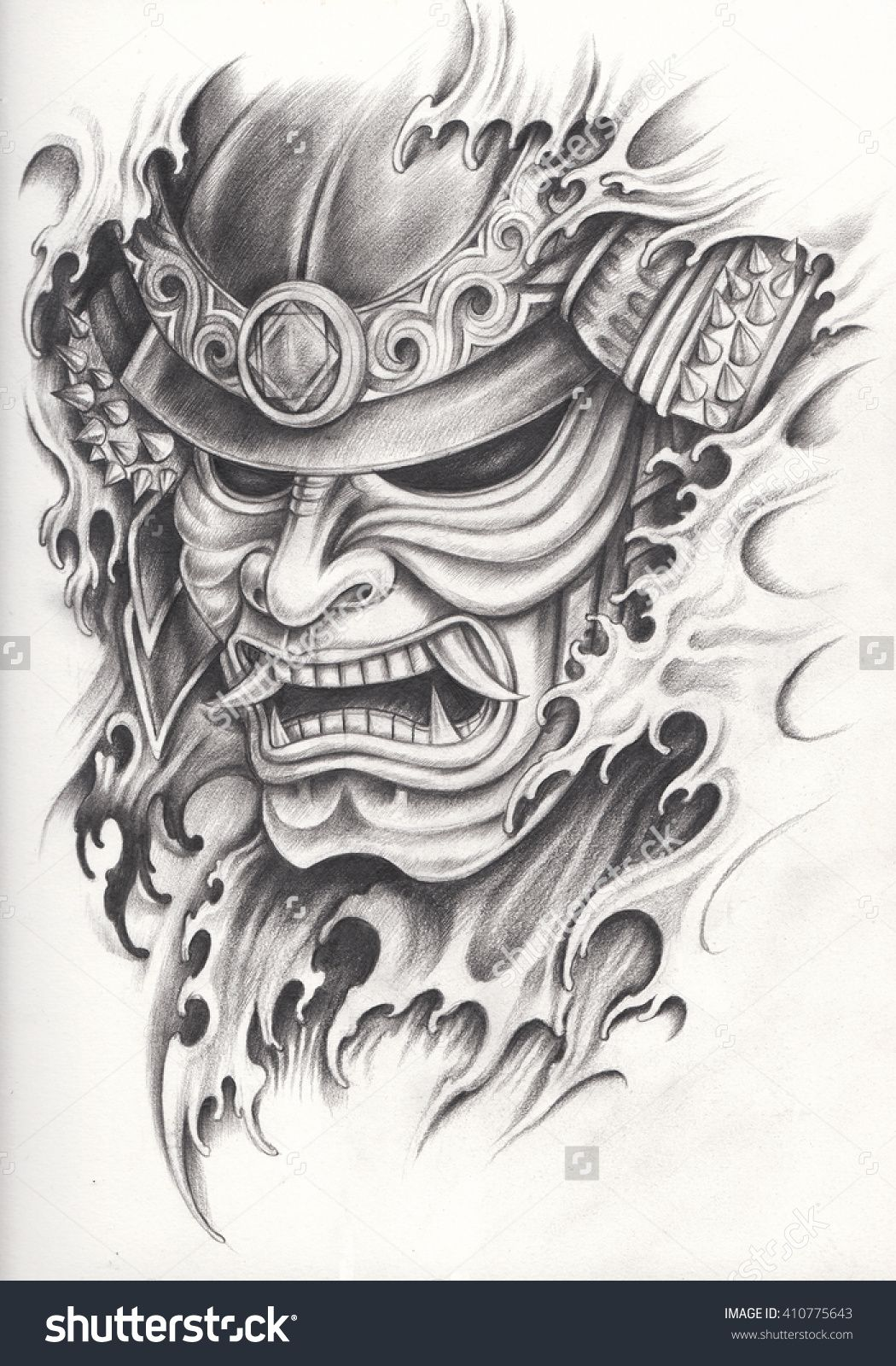 Samurai Warrior Tattoo Design Hand Pencil Drawing On Paper Warrior Tattoo Japanese Tattoo Samurai Warrior Tattoo