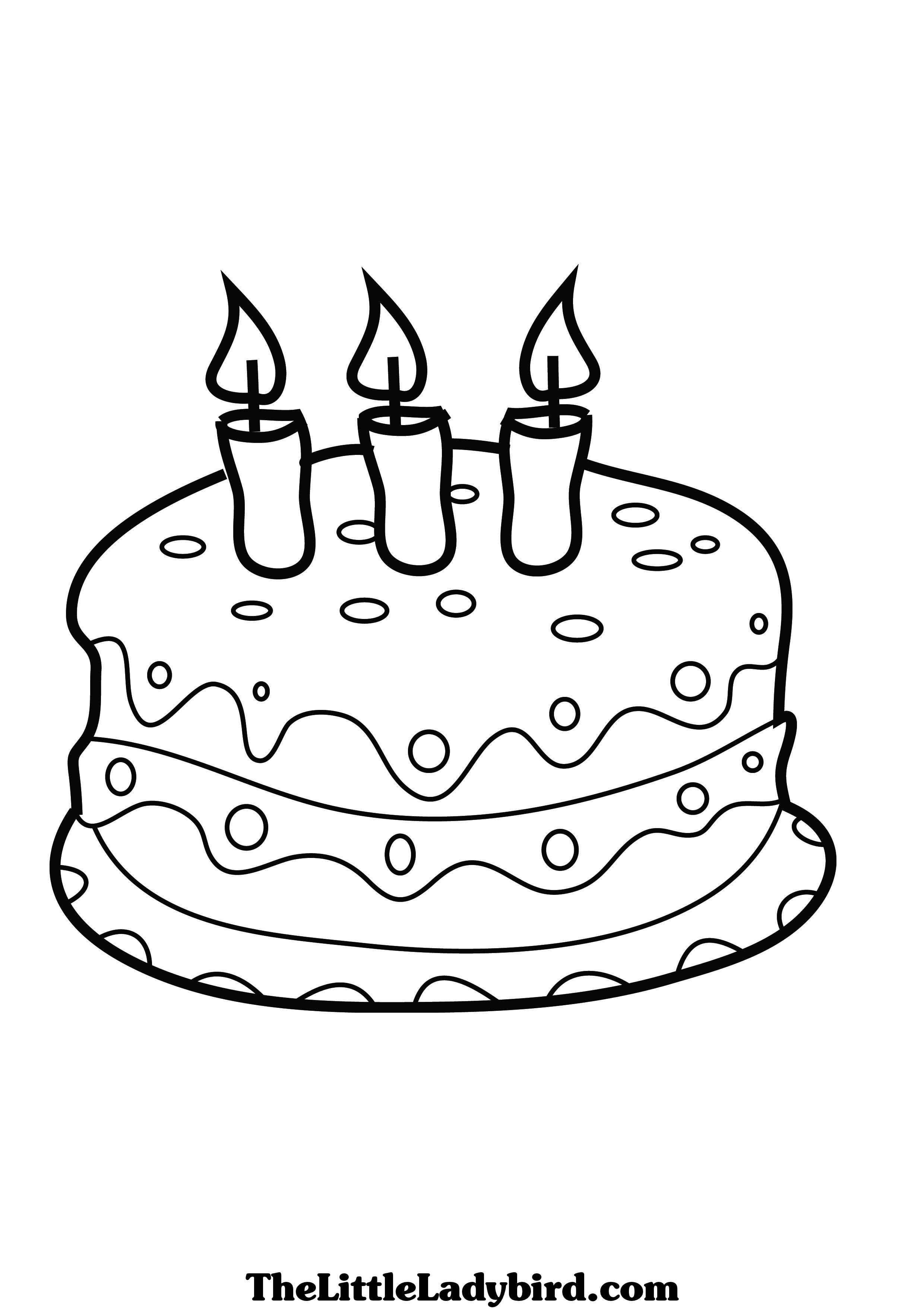 Coloring Page Of A Birthday Cake Pages The Little Cakepins